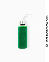 Green water bottle isolated on white background