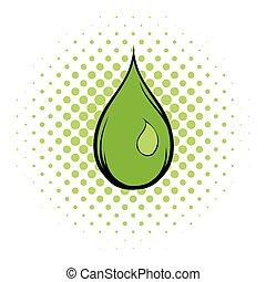 Green water drop comics icon