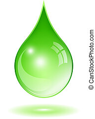 Green water drop isolated on white