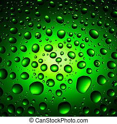 Round water drops on green background close-up