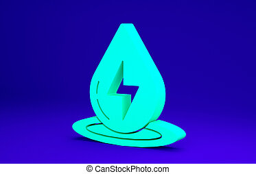 Green Water energy icon isolated on blue background. Ecology concept with water droplet. Alternative energy concept. Minimalism concept. 3d illustration 3D render