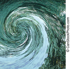 Green Water Twist - A hurricane or tornado-like abstract...