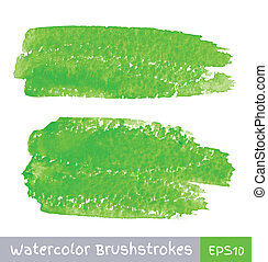 Green Watercolor Brush Strokes, vector illustration for your...