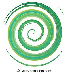 green watercolor spiral, vector illustration