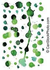 Green watercolor splashes