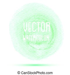 Green watercolor stain isolated on white background.