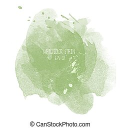 Green watercolor stain on white background. Abstract blot...