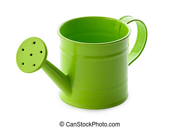 Green watering can - Gardening: little green watering can,...