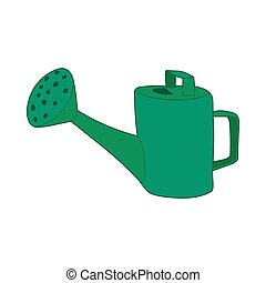 Green watering can icon, cartoon style