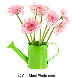 Green watering can with flowers
