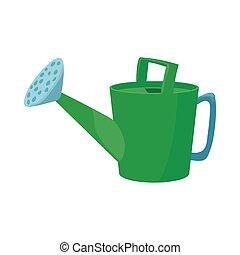 Green watering icon, cartoon style