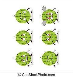 Green watermelon cartoon character with various angry expressions