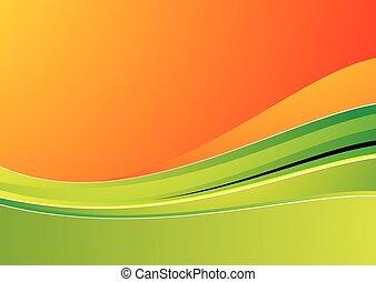 green wave on orange background for design