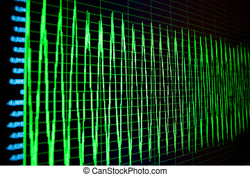 Green waveforms and spectograms and numerical values on ...