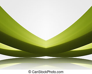 perspective - green waves in perspective with ligth over ...