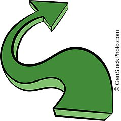 Green wavy arrow icon, icon cartoon