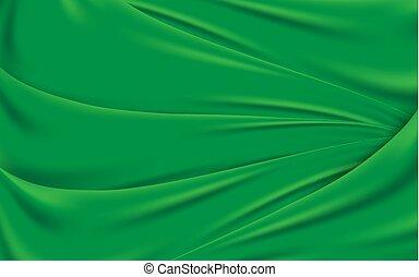 Green wavy silk fabric texture background. Vector illustration