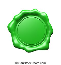 Green Wax Seal - Isolated (Empty)