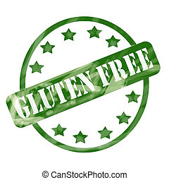 Green Weathered Gluten Free Stamp Circle and Stars - A green...
