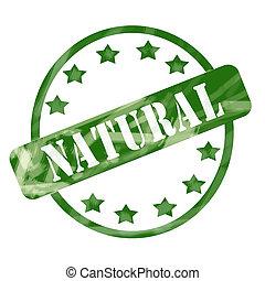 Green Weathered Natural Stamp Circle and Stars
