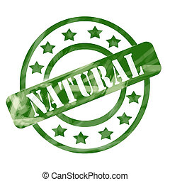 Green Weathered Natural Stamp Circles and Stars