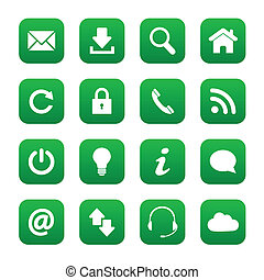 Green web buttons - Set of green web buttons