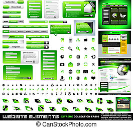 Green Web design elements extreme collection