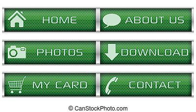 Green web icon set