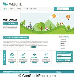 Green Web template flat design