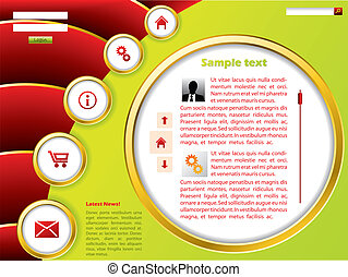 Green website template with red wave effect