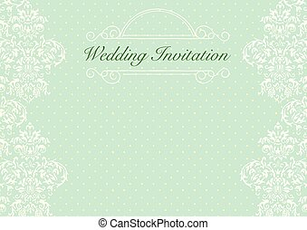 Green Wedding Invitation Card Background Template With