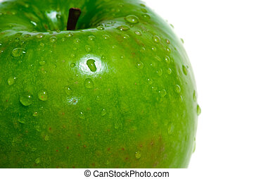 Green wet apple macro - Green wet apple (granny smith)...