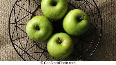 Green wet apples in vase - From above shot of composed fresh...