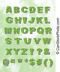 Green Whimiscal Block Font with Shadow - Whimsical green...