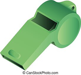 Green whistle icon, isometric style