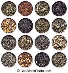 green, white, black and herbal tea - 16 samples of loose...