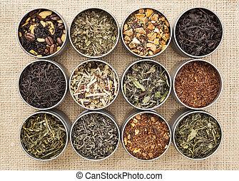 green, white, black and herbal tea - samples of loose leaf...