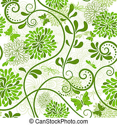 Green-white floral pattern