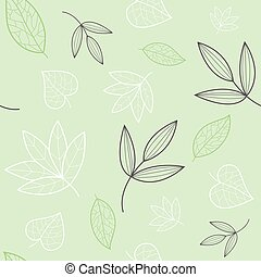 Green, white, grey leaves texture vector seamless pattern. Great for spring and summer backgrounds, wallpaper, invitations, packaging design project. Surface pattern design. Vector.