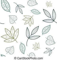Green, white leaves floral seamless pattern. Great for modern wallpaper, backgrounds, invitations, packaging design projects. Surface pattern design. Vector.