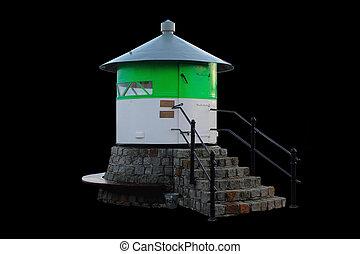 green-white lighthouse
