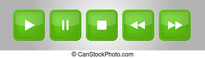 green, white square music control buttons set