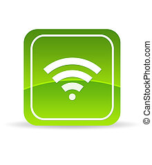 High resolution green wifi icon on white background.