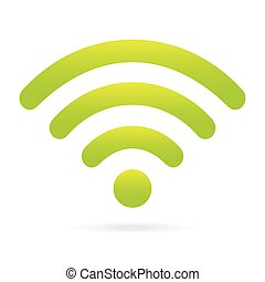 green wifi icon wireless symbol on isolated background