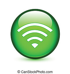 Green wifi or wireless sign glossy button