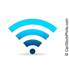 High resolution blue gradiant WIFI sign standing.