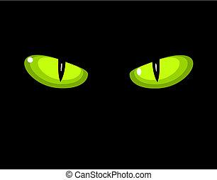Green wild cat eyes