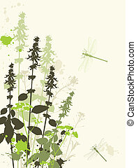 Green wildflowers - Green grunge vector background with...