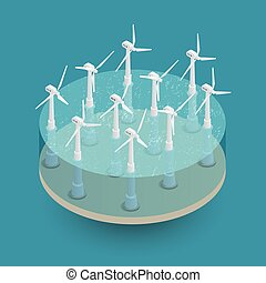 Green Wind Energy Isometric Composition