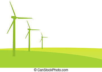 Green Wind mill silhouettes